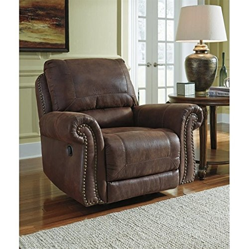 Ashley Breville Faux Leather Rocker Recliner in Espresso (Espresso Leather Recliner compare prices)
