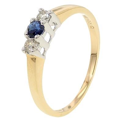 3 Stone Diamond & Sapphire Ring