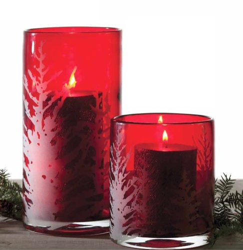 Chesapeake Bay Candle Decorative Holiday Etched Red Glass Hurricane Candle Holder (Tall)