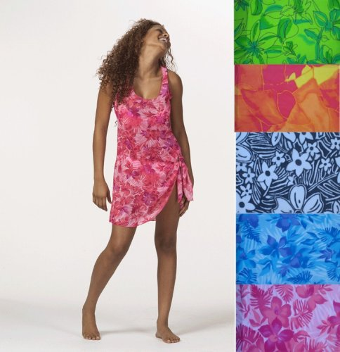 Buy Lightweight Hawaiian Print Mesh Sarong Dress/Cover Up in 5 Tropical Colors Sizes S-XL