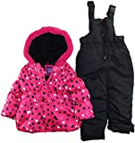 Pink Platinum Little Girls 2-4T All Over Hearts Two Piece Snowsuit Set, Fuchsia, 4T thumbnail