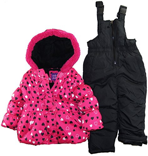 Pink Platinum Little Girls 2-4T All Over Hearts Two Piece Snowsuit Set, Fuchsia, 2T front-1053569