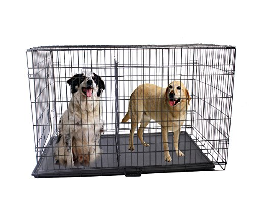 """Goplus Brand New 24""""/48"""" 2 Door Wire Folding Pet Dog Cat Crate Cage Kennel Suitcase W/Divider (24""""(L) X 17""""(W) X 20""""(H)) front-196498"""