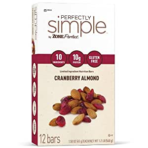 ZonePerfect Perfectly Simple Almond Bar, Cranberry, 1.58-Ounces (Pack of 12)