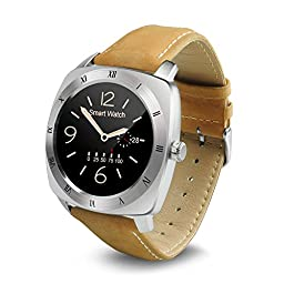 Luxsure® Smart Watch Bluetooth Heart Rate Monitor Pedometer Shake Control Smartwatch Wristwatch for IOS Apple iPhone and Android Smartphones (Silver)