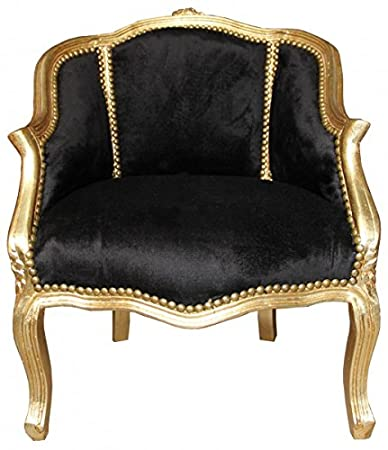 Casa Padrino Baroque Ladies Salon Chair Black/Gold - Antique Furniture Style