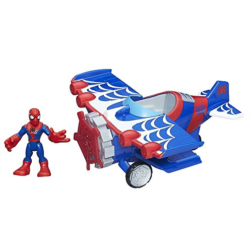 Playskool Heroes Marvel Super Hero Adventures Stunt Wing Spider Plane Spiderman Toy - 1
