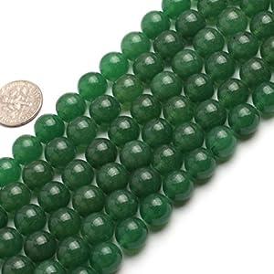 10mm Round Gemstone Green Jade Beads Strand 15 Inch Jewelry Making Beads