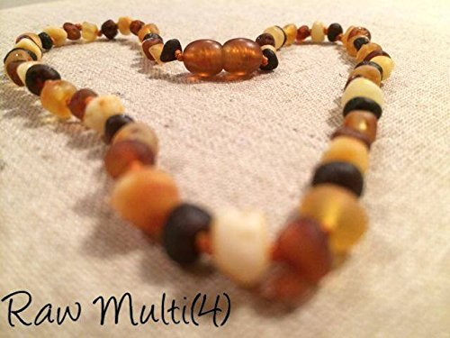Baltic Amber Teething Necklace for Babies and Toddlers Raw Multi
