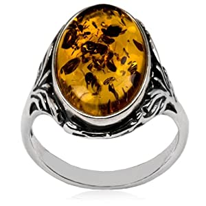 Sterling Silver Baltic Amber Oval Classic Ring 10x14mm Cabochon