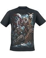 Spiral T-shirt pour homme Motif Viking Dead Skull Noir