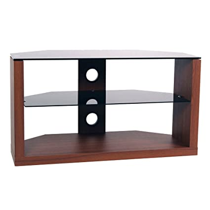 RTA Home And Office Walnut Plasma Tv Stand With Black Glass Storage Space Stereo Components