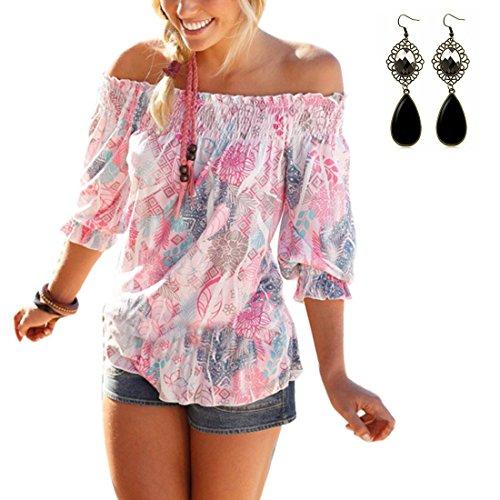 Sitengle Donna Bluse Chiffon T-shirt Maniche a 3/4 Senza Spalline Stampato Floreale Maglia Camicia Camicetta Tops Vacanza