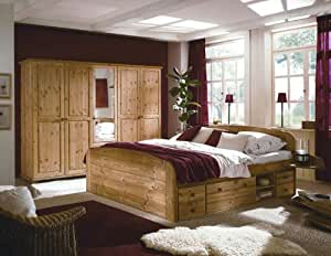 komplettes schlafzimmer mit bett und kleiderschrank aus massiver kiefer neu k che. Black Bedroom Furniture Sets. Home Design Ideas