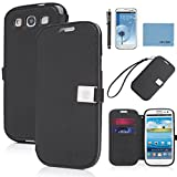 galaxy s3 case, By Ailun,Wallet Case,PU Leather Case, Credit Card Holder,Flip Cover Skin[Black],with Screen Protect and Styli Pen