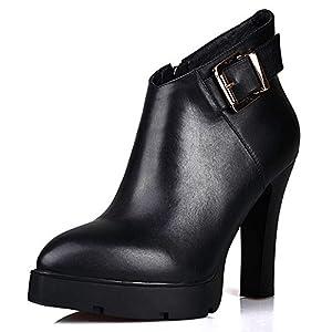 TAOFFEN Women Bootie Ankle High Black Block Heel Shoes Genuine Leather Fashion Boots (7 B(M) US, Black)