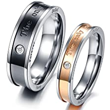 buy Mens Womens Black Rose Gold Stainless Steel Engrave Love Words Couples Ring Wedding Silver Band Cz Inlay