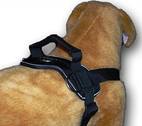 Black Nylon Dog Harness Multipurpose Service Pulling Sport Professional Training Walking Pit Bull Lab for all breeds all sizes variety of colors (Dog Harness Pit Bull compare prices)