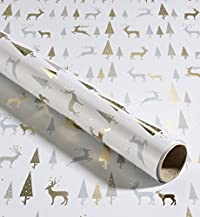 4m Gold Tree & Stag Christmas Wrapping Paper