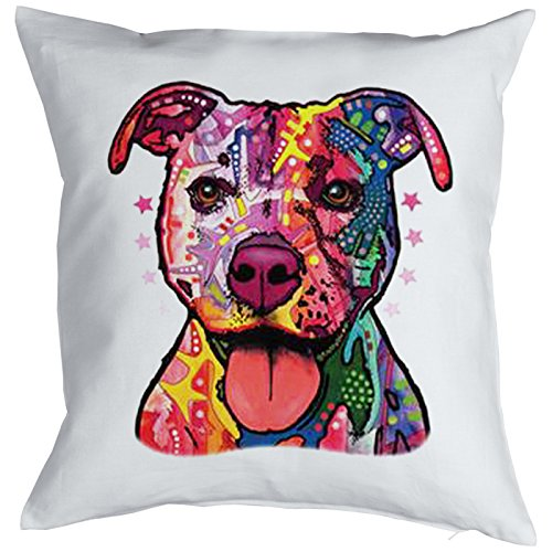 kissen mit f llung dekokissen sofakissen mit bunten hunde motiv pitbull. Black Bedroom Furniture Sets. Home Design Ideas