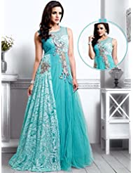 UFS Women's Light Blue Net Semi Stitched Anarkali Dress Salwar Suit Gown