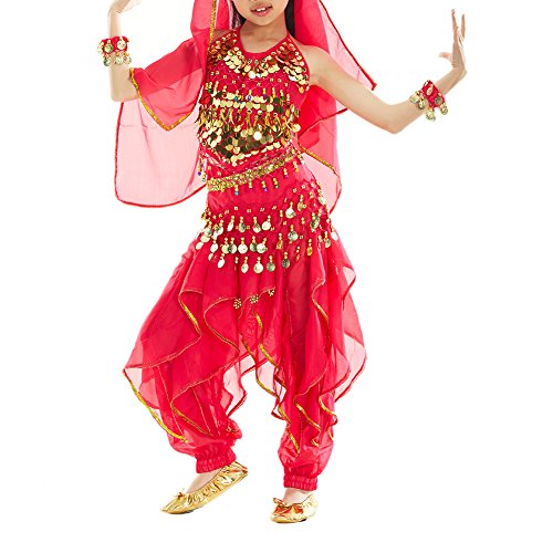 [BellyLady Kid Tribal Belly Dance Halloween Costume, Harem Pants & Halter Top ROSERED-L] (Ideas For Halloween Costumes For Teenage Girl)