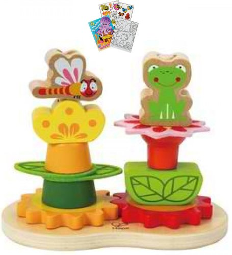 Hape 0428 Garden Stacker Toddler Wooden Toy with Coloring Book - 1