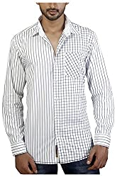 Repique Men's Botton Front Cotton Shirt(Seb-101,White,X-large)