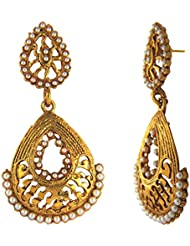 Traditional Ethnic Floral Drop Gold Plated Dangler Earrings With Crystals For Women By Donna ER30132G