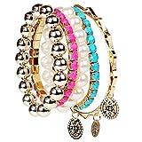Shining Diva Fashion Multilayer Charm Bangle Bracelets For Girls