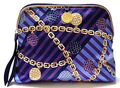 Estee Lauder Blue and Gold Signature Print Cosmetic Bag