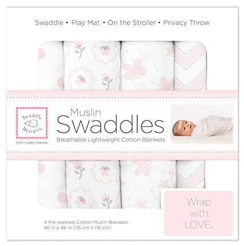 SwaddleDesigns Set of 4 Muslin Swaddle Blankets, Butterfly Fun