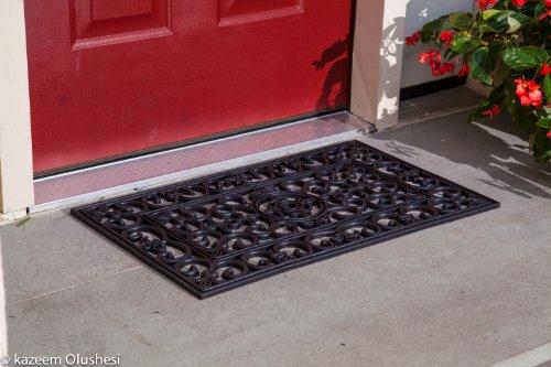 Kempf Rubber Scroll Doormat Rectangular (Black Outdoor Mat compare prices)