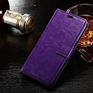 """Oil Buffed Wallet Leather Case Flip Cover TPU For Samsung Galaxy S6 Edge+ Plus 5.7"""" - Purple"""