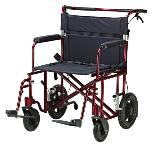 Drive Medical Bariatric Transport Chair with 12 Inches Rear Flat Free Wheels, Red, 22 Inches