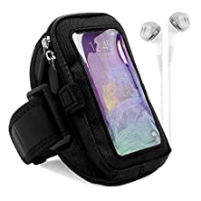 buy Vg Zippered Hardcore Workout Armband For Sony Xperia Series Smartphones With White Headphones, Black