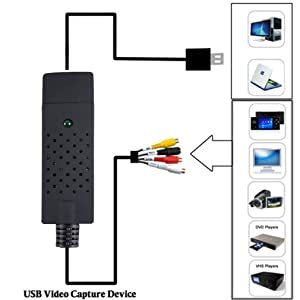 VHS to Digital Converter USB 2.0 Video Converter Audio Capture Card VHS Box VHS VCR TV to Digital Converter Support Win 2000/ Win 10/ Win 7/Win 8 /Win Xp/Win Vista Linux Mac/Android (Color: VHS)