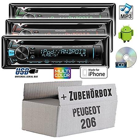 Peugeot 206 - Kenwood KDC-364U - CD/MP3/USB Autoradio - Einbauset