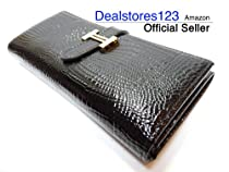 Hot Sale Dealstores123 - Glossy Genuine Leather Women's Wallet - Crocodile Pattern - Glossy Black