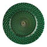 """13"""" Luxe Glass Charger Plate Color: Emerald Green"""