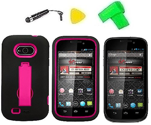 Heavy Duty Hybrid Phone Cover Case Cell Phone Accessory + Extreme Band + Stylus Pen + Lcd Screen Protector + Yellow Pry Tool For Virgin Mobile Zte Awe N800 Zte Shocker (Black/Pink)