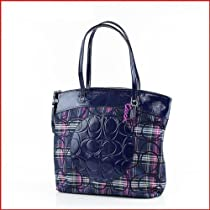 Hot Sale Coach Laura Tartan Signature Multicolor Tote Handbag Purse 20109