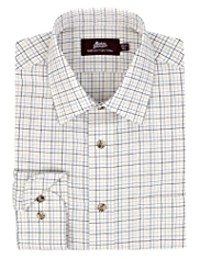 2in Shorter Pure Cotton Herringbone Fine Checked Twill Shirt