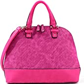 Dasein Dome Zip-Around Flat Bottom Fashion Ipad Bag, Handbag - Fuchsia