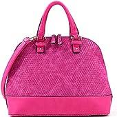 Dasein Dome Zip-Around Flat Bottom Fashion Ipad Bag, Handbag - Fuchsia