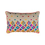Colorful Bohemian Style Linen Pillow Cover Embroidered Moroccan Pillow Case Tribal Indian Craft Cushion Cover... - B00WK7VC9O