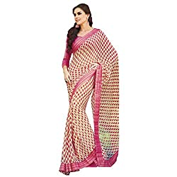 radhika sarees georgette saree with unstiched blouse 18237_pink