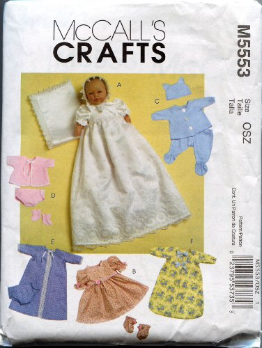 McCall's Crafts Sewing Pattern M5553 Baby Doll Clothes for Dolls 11