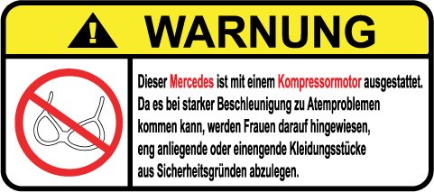 Mercedes-Kompressor-Motor-German-Lustig-Warnung-Aufkleber-Decal-Sticker
