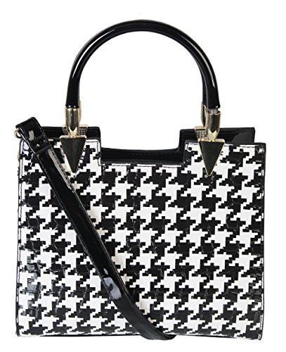 Rimen & CO. Womens Two Tone Fashion Houndstooth Check With Patent Handbag Structured Large Purse QN-2443 (Black)